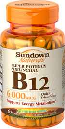 Super Potency Sublingual B12 6000 mcg 6000 mcg  30 Tablets