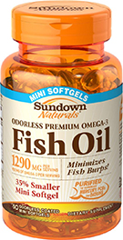Odorless Omega-3 Fish Oil 1290 mg 1290 mg  60 Mini Softgels