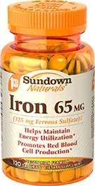 Iron Ferrous Sulfate 65 mg (325 mg Ferrous Sulfate)◊ 120 Tablets