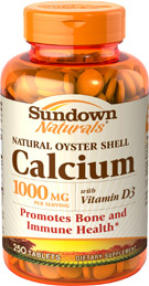 Oyster Shell Calcium 1000 mg plus Vitamin D3 1000 mg  250 Tablets