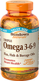 Triple Omega 3-6-9 Flax, Fish & Borage Oils 200 Softgels