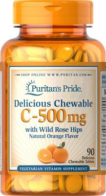 チュアブル C 500 mg.・ローズヒップ配合