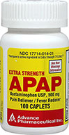 Acetaminophen 500 mg <p><b>From the Manufacturer's Label: </p></b><p>Available in 100 & 200 caplets.</p><p> Compare to active ingredient in Extra Strength Tylenol®</p> 100 Caplets 500 mg $9.99