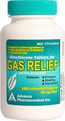 Gas Relief <p>Relieves bloating, pressure, and discomfort of gas which can be caused by certain foods or air swallowing.</p><p>Mint flavor chewable tablets.</p><p>Active ingredient: Simethicone, 80 mg (antiflatulant).</p><p>Compare to active ingredient in Gas-X® Regular Strength and Mylanta® Gas.</p> 100 Tablets 80 mg $7.99