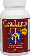 Clearlungs™ <p><b>From the Manufacturer's Label: </p></b><p>ClearLungs™ is a unique Chinese herbal formula designed to provide nutrients to the lungs.  Each ingredient plays a special role in providing nutritional support.</p><p>Each capsule contains Hoelen, Dong Quai, Ophiopogon, Scute, Platycodon, Citrus Morus Root, Fritillary, Asparagus, Almonds, Gardenia, Shizandra, and Licorice. Not for sale to persons under eighteen years of age.</p> 120