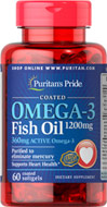 Coated Omega-3 Fish Oil 1200 mg (360 mg Active Omega-3)