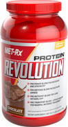 "Protein Revolution Chocolate MET-Rx® PROTEIN REVOLUTION IS THE ULTIMATE, RECOVERY FORMULA – A CUTTING-EDGE PROTEIN FORMULATION CONTAINING FOUR HIGH-PERFORMANCE BLENDS, DESIGNED TO TAKE YOUR TRAINING TO THE NEXT LEVEL.* THIS SUPERIOR ""ALL-IN-ONE"" FORMULA CONTAINS THE VERY LATEST SPORTS PERFORMANCE NUTRIENTS FOR ENERGY, STRENGTH, POWER, RECOVERY AND MORE!* BY INCORPORATING THIS REVOLUTIONARY PROTEIN FORMULA INTO YOUR NUTRITION AND TRAINING PLAN YOU'LL NEVER NEED TO STACK MULTIPLE PRODUCTS"