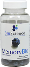 Memory Blu <strong></strong><p><strong>From the Manufacturer's Label:</strong></p><p>Memory Blu cognitive support contains pTeroPure Pterostilbene, a pure form of the all-trans pterostilbene found naturally in blueberries. Harnessing the science behind blueberries and the superior cellular uptake of pterostilbene . One capsule provides the amount of pterostilbene found in over 500 cartons of blueberries </p> 60 Capsules  $22.99