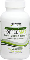 Coffeemax Green Coffee Bean Extract <p><strong>From the Manufacturer's label:</strong></p><p>Each capsule contains 400 mg CoffeeMax™ Green Coffee</p><p>Suitable for Vegetarians</p><p>Coffeemax™ is made from only the purest extract of Green Coffee (Coffea arabica).  Naturally occurring phenolic actives including chlorogenic, caffeic and quinic acids have been identified and have been the subject of recent clinical studies.</p><p&g