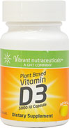 Vitamin D-3 Plant Based 5000 IU <b><p>From the Manufacturer:</b></p> <p>• These Plant based Vitamin D-3 gel caps each contain 5000 IU</p> <p>• This is a 100% vegan and vegetarian-suitable Vitamin D3 product</p> 60 Softgels 5000 IU $14.49