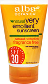 Natural Very Emollient Sunscreen Fragrance Free SPF 30