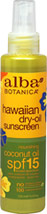 Natural Hawaiian Dry-Oil Sunscreen Coconut Oil SPF 15