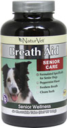 Senior Care Breath Aid <B>From the Manufacturer's Label:</B>  <P>Senior Care Breath Aid is formulated specifically for senior dogs.  Freshens breath and cleans teeth.  Peppermint Flavor.</P> 60 Chewables
