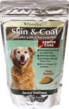 Senior Care Skin & Coat Powder with Glucosamine <B>From the Manufacturer's Label:</B>  <P>Skin & Coat Powder with Glucosamine is formulated specifically for senior dogs.  Provides optimal levels of Omega 3, 6 and 9 Fatty Acids.  Also contains Biotin, Vitamin C, Calcium and Phosphorus.</P>  11 oz Powder  $26.99