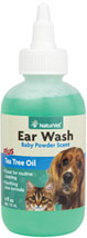 Ear Wash with Tea Tree Oil <B>From the Manufacturer's Label:</B> <p>Natural ear cleaning formula reduces ear odor and helps remove ear wax and debris. Safe for routine cleaning.   Veterinarian formulated.  Aloe and baby powder scent.</P>  4 oz Liquid  $12.99