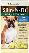 Slim-N-Fit Tablets for Dogs <B>From the Manufacturer's Label:</B> <P>Slim-N-Fit Tablets for Dogs are formulated with a synergistic combination of ingredients that includes clinically tested Phase 2 Pet.</P>  60 Chewables  $29.69