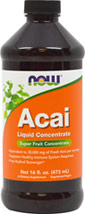 Acai Superfruit Liquid Concentrate <p><strong>From the Manufacturer's Label:</strong></p><ul><li>Equivalent to 35,000 mg of Fresh Acai per serving</li><li>Supports Healthy Heart & Blood Vessels**</li><li>Supports Healthy Immune System**</li><li>Delicious, Fresh Taste</li></ul><p>NOW® uses only solvent-free, freeze-dried Acai Berries to ensure that the nutrients present in fresh Acai are ret