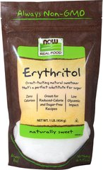 Erythritol 100% Pure Natural Sweetener <p><b>From the Manufacturer's Label:</b></p> <p>Pleasant-Tasting Natural Sweetener</p>  <p>Great for Reduced-Calorie and Sugar-Free Recipes</p>  <p>Zero Calories</p>  <p>Erythritol is a naturally-occurring sugar alcohol derived from a corn source and is naturally found in small amounts in various plants, fruits and fungi, including mushrooms. </p> <p>Manufactured by NOW®