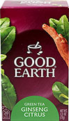 Ginseng Green Tea Citrus <p><b>From the Manufacturer's Label:</b></p> <p>Ginseng Green Tea Citrus is manufactured by Good Earth®.</p> 20 Tea Bags  $3.59