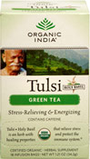 "Organic Tulsi Holy Basil Green Tea <p><b>From the Manufacturer's Label:</b></p> <p>Certified Organic</p> <p>A harmonious blend of the ""Incomparable"" Tulsi and the finest Green Tea, simply accented with an aromatic lemon flavor lift from Tulsi.</p> <p>Throughout India, Tulsi is considered ""The Queen of Herbs"" and is revered as a sacred plant infused with power. Traditionally grown in an earthen pot in every family home"