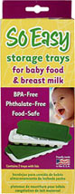 So Easy Baby Food Freezer Trays w/Lids <p><b>From the manufacturer:</b></p><p>PBA and Phthalate free, Food safe</p><p>Designed for freezing homemade baby food in single servings and freezing breast milk</p><p>Defrost what you need with no waste</p><p>Spillproof lids eliminate freezer burn & odors</p><p>Each tray makes 12 one-ounce servings (approximate)</p><p>Stackable and dishwasher safe</p>  1 P