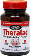 Theralac® <p><b>From the manufacturer:</b><p>Bio-Replenishing™ Probiotic</p><p>30 Billion Colonizing CFU per capsule guaranteed at the time of expiration</p><p>5 colonizing strains and 2 prebiotics</p><p>Theralac® is a high potency, multistrain probiotic in a stomach acid resistant formulation</p>  30 Capsules  $38.95