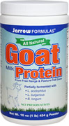 Goat Milk Protein Jarrow Formulas Goat Milk Protein is an all natural protein from free range goats not treated with hormones or antibiotics.  The goats are raised on pastures that are grown without the use of any chemical fertilizers, pesticides, or herbicides.  16 oz Powder  $27.99