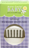 Calming Baby Nursery Diffuser <p><strong>From the manufacturer:</strong></p><p>Reassure your baby that all's right in the world with our blend of pure, organic essential oils.  Chamomile's quiet nature, ylang ylang's steadying influence, marjoram's warm, sleepy quality, and lavender's renowned, relaxing aroma gently coax your baby to calm down........or drift off.  Contains 1 3.6ml bottle of Aura Cacia® Calming Nursery Blend</p> 1 Box