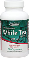 "White Tea Standardized Extract 500 mg White tea comes from the buds and leaves of the Chinese Camellia sinensis plant. The name """"white tea"""" derives from the fine silvery-white hairs on the unopened buds of the tea plant, which gives the plant a whitish appearance. Because white tea is derived from the Camellia sinensis plant, it contains polyphenols and catechins. These phytonutrients that are thought to be responsible for the tea's health benefits.  60 Capsules 500 mg $16."
