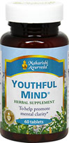 Youthful Mind <B>From the Manufacturer's Label:</b> <P>The Master Vaidyas of Maharishi Ayurveda, a complete system of Natural Healthcare.  To help maintain the body's ability to handle stress.  Nutritional support for the mind, especially those facotrs associated with the natural aging process.  Synergistic combination of safe, effective, premium-grade, full potency herbs.</p> 60 Tablets  $14.99
