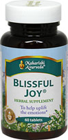 Blissful Joy <B>From the Manufacturer's Label:</b> <p>The Master Vaidyas of Maharishi Ayurveda, a complete system of Natural Healthcare.  Invigorates the mind and body.  Nourished the coordination between mind and body.  Helps uplift the emotions.  Synergistic combination of safe, effective, premium-grade, full potency herbs.</p> 60 Tablets  $34.99