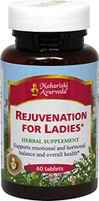 Rejuvenation For Ladies <B>From the Manufacturer's Label:</b> <P>The Master Vaidyas of Maharishi Ayurveda, a complete system fo Natural Healthcare.  Supports natural metabolic and biorhythmic balance.  Maintains emotional and physical comfort.  Synergistic combination of safe, effective, premium-grade, full potency herbs.</p> 60 Tablets  $44.99