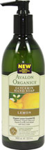 Avalon Lemon Glycerin Hand Soap <p><b>From the Manufacturer's Label</b></p> <p><b>Organic Lemon Essential Oil, </b>Panthenol, Organic Aloe and Vitamin  E purify and refresh with every wash.  </p>  <p>Gentle enough for frequent hand washing.  Soothing but effective botanical cleansers are blended with moisturizing glycerin and certified organic lemon, known for its natural antibacterial properties, to purify and refresh with every wash.&lt