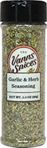 Garlic & Herb Seasoning <b><p> From the Manufacturer:</b></p><p>Our Garlic and Herb Seasoning is a delicate, harmonious blend of Oregano, garlic, basil, onion, pepper, marjoram and rosemary. It adds equal parts pungency and zest to your favorite dishes – try mixing it with a little olive oil for a deliciously quick salad dressing. Always a crowd pleaser, our Garlic and Herb Seasoning is all-natural and free of salt – a perfect choice for those watching their sod