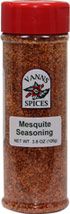 Mesquite Seasoning <b><p> From the Manufacturer:</b></p><p>A traditional Texas style BBQ flavor.  Use on beef, pork and ribs for the Smoky mesquite flavor.</p>  <p>No Preservatives, No Irradiation</p>  3.8 oz Seasoning  $6.99