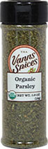 Organic Parsley <strong></strong><p><strong>From the Manufacturer:</strong></p><p>Parsley is the most popular and versatile of spices. This dried parsley is a necessity for any spice cabinet!</p> 0.6 oz Bottle  $5.99
