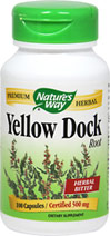 Yellow Dock Root 500mg  <p><b>From the Manufacturer's Label:</b></p> <p>Yellow Dock Root 500mg is manufactured by Nature's Way.</p> 100 Capsules 500 mg $4.49