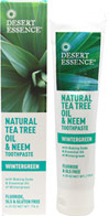 Tea Tree Oil & Neem Wintergreen Toothpaste <p><b>From the Manufacturer</b></p> <p>With Baking Soda & Essential Oil of Wintergreen</p> <p>Fluoride, SLS & Gluten Free</p>  <p>Desert Essence Tea Tree Oil Dental Care products are the perfect choice for your oral hygiene routine. They contain no harsh abrasives, synthetic sweeteners or artificial flavors. Formulated with simply pure and natural ingredients to keep your mouth feeling fr