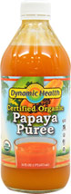 Papaya Puree <p><strong>From the Manufacturer's Label: </strong></p><p>A Natural Source of the Papain Enzyme. Ideal for tropical smoothies, fruit cocktails and as a mixer. A delicious, natural topping for yogurt, ice cream, fruit, pastry and dessert.</p><p>Manufactured by Dynamic Health Laboratories, Inc.</p> 16 oz Liquid  $4.49