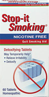 Stop-It Smoking Tablets <p><b>From the Manufacturer's Label: </p></b><p>Relieves Irritability</p><p>Helps Detoxify</p><p>Detoxifying tablets reduce nicotine withdrawal symptoms and nervous tension associated with cessation of tobacco use.**  It also helps to detoxify from tobacco use.**</p><p>Manufactured by NATRA BIO. </p> 60 Tablets  $6.36