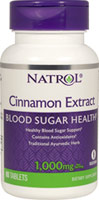 Cinnamon Extract 1000 mg <p><b>From the Manufacturer's Label: </p></b><p>Cinnamon  has long been treasured for its exquisite flavor and aroma and now Natrol Cinnamon Extract helps maintain healthy blood sugar levels already within the normal range.**</p> 80 Tablets 1000 mg $6.71