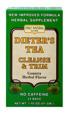 "Dieter's Tea Cleanse & Trim <p><strong>From the Manufacturer's Label: </strong></p><p>One cup of Dieter's Tea per day helps eliminate excessive body water content and fats thus preventing them from being converted into specific ""weight gain"" cells. Caffeine free.</p> 24 Tea Bags  $6.29"