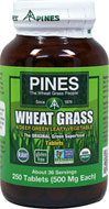 Wheat Grass 500 mg <p><b>From the Manufacturer's Label: </p></b><br>A naturally balanced source of vitamins, minerals, amino acids, dietary fiber, chlorophyll, and carotenoids.<br>Pines Wheat Grass is a food with such a naturally high concentration of nutrients that one rounded teaspoon is equal to a large serving of a deep green leafy vegetable.** 250 Tablets 500 mg $10.99