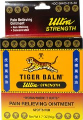"Tiger Balm® Ultra Strength <p><b>From the Manufacturer's Label: </p></b><p>Sports Rub for Sore Muscles & Over-exertion</p> <p>Non-Staining</p> <p>TIGER BALM® has been used for nearly 100 years and sold throughout the world.**  TIGER BALM® ""Works where it hurts.""**</p> 1.7 oz Ointment  $9.99"