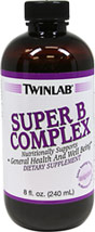 Super Vitamin B Complex Liquid <p><b>From the Manufacturer's Label: </p></b><p>Twinlab's Super B complex is a pleasant tasting liquid formula for more efficient digestion, absorption, assimilation and utilization.  Super B Complex contains ingredients such as Thiamin, B12, Riboflavin and B6, which help support general health and well being.** Super B Complex contains no preservatives, artificial colors or flavors and there is no fructose, honey or sugars add