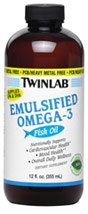 Omega-3 Emulsified Liquid <p><b>From the Manufacturer's Label: </p></b><p>Supplies EPA & DHA </p> <p>Manufactured by TWIN LAB.</p> 12 fl oz Liquid  $10.79