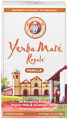 Yerba Mate Royal Tea Vanilla <p><strong>From the Manufacturer's Label: </strong></p><p>With less caffeine than coffee or black tea,  Yerba Mate´  energizes with nutrition by providing 196 active compounds including vitamins, minerals and more antioxidants than green tea.** And given a chance, it will enter your circle of family and friends.</p> 25 Tea Bags  $5.69