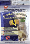 Dental Treats for Cats <p><b>From the Manufacturer's Label: </p></b><p>These tasty, easy to feed treats are comprised of a unique crunchy cereal shell with a tasty, breath-freshening filling. The cereal shell is designed to act as an abrasive, removing debris and plaque from the teeth surface thus assisting in the control of tartar build-up. The treat filling contains natural breath-freshening ingredients which promote good oral hygiene.</p> 1.75 oz Bag  $