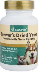 Brewers Yeast & Garlic Tablets for Dogs & Cats <p><b>From the Manufacturer's Label: </p></b><p>Vitamin Enriched Tablets: Contains top quality debittered yeast that your dogs and cats love to eat.  Contains 5% garlic and fortified with B-1, B-2 and Niacin.  Also includes Vitamin C, an important antioxidant.</p> 100 Chewables  $6.29