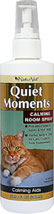 Calming Spray for Cats <p><b>From the Manufacturer's Label: </p></b> <p>Quiet Moments Herbal Calming spray is formulated to simulate the type of pheromones that provide cats with a sense of safety and well being.  Your pet will find comfort in the light, fresh fragrance.</p> 8 oz Spray  $12.59